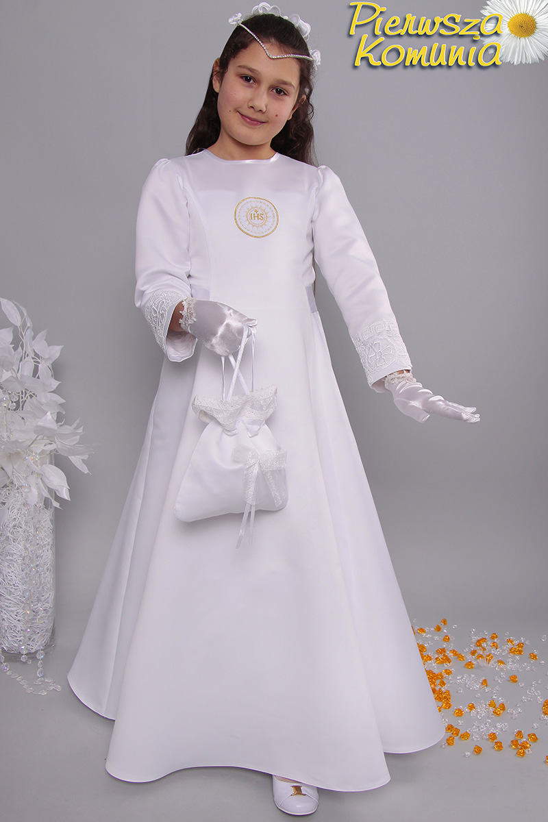 659a0aaa47 Sukienka 1 ST satyna - Sukienki satynowe taliowane - Pierwszakomunia.pl