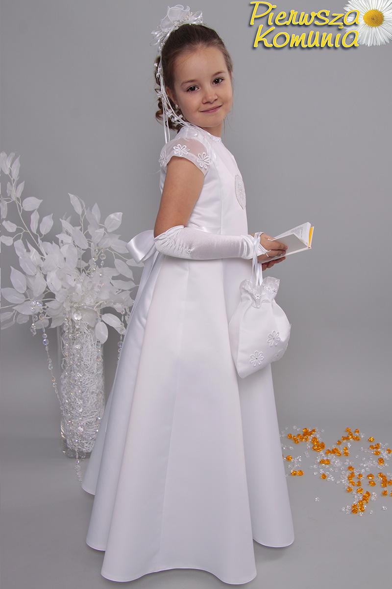 93e78bb066 Sukienka 15 ST satyna - Sukienki satynowe taliowane - Pierwszakomunia.pl